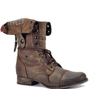 Steve Madden Combat Boot, Brown Leather, 7.5W